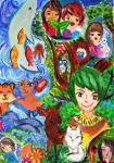 """Рисунок из Китая прислан на Международный конкурс """"Зелёная планета глазами детей"""" в 2013 году"""