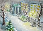Зима. Беседка. Уличный фонарь