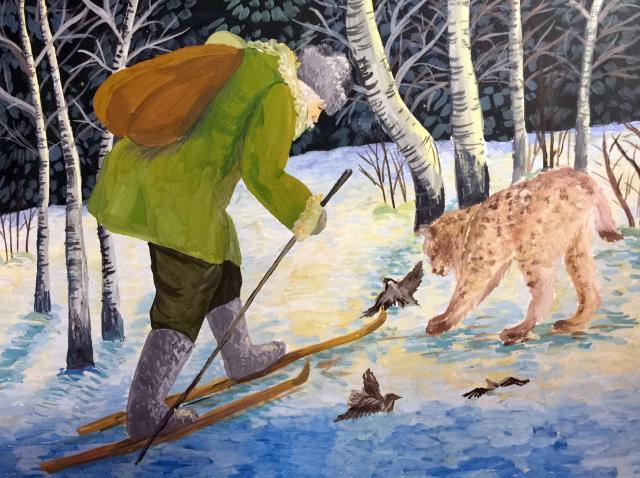 «Рысь выходит на дорогу», рисунок: Маматовой Анны, Белгородская область